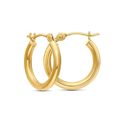 5d815d807 Tiny 14k Yellow Gold Extra Small Hoop Earrings, 12mm Diameter (yellow-gold)
