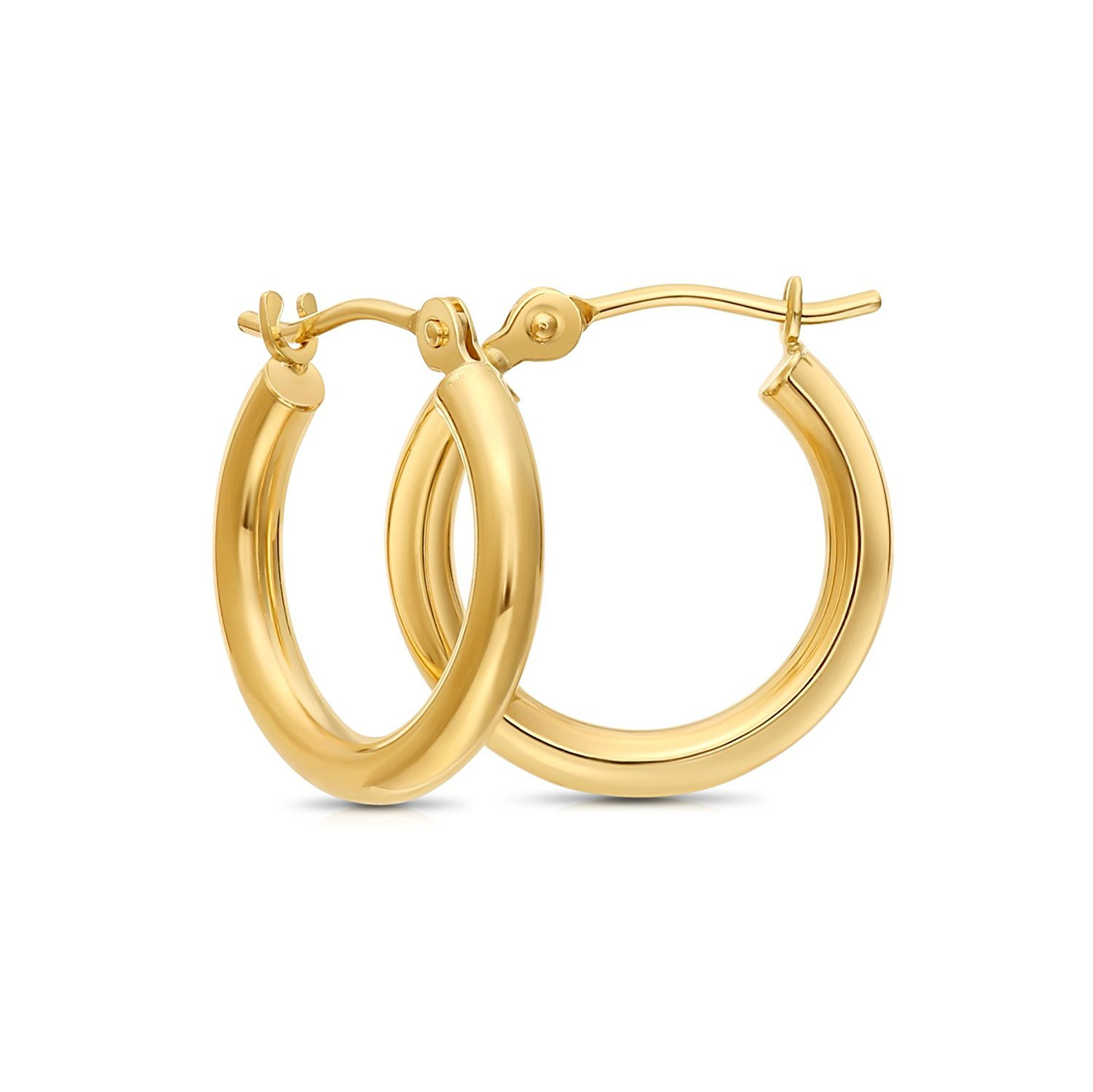 Tiny 14k Yellow Gold Extra Small Hoop Earrings, 12mm Diameter (yellow-gold)