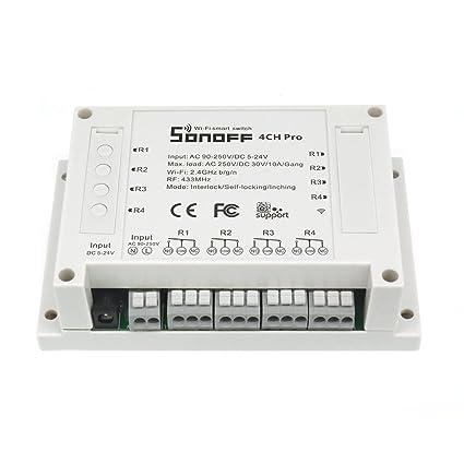 Sonoff 4CH Pro- Interruptor inteligente 4 Gang, Interruptor de enclavamiento para generador, Avance