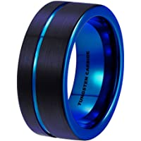 Mens Tungsten Ring -Black Tungsten Wedding Band 8mm for Men Women Blue Black Pipe Cut Brushed Ring