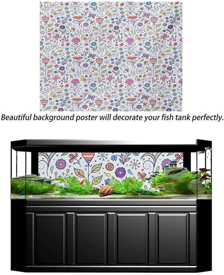 Doodle Aquarium Background Fish Tank Decorations Pictures Colorful Flora and Fauna Blooming Nature Coming of the Spring Themed Illustration PVC Self-Adhesive Decor Wall Multicolor L24 X H12 Inch