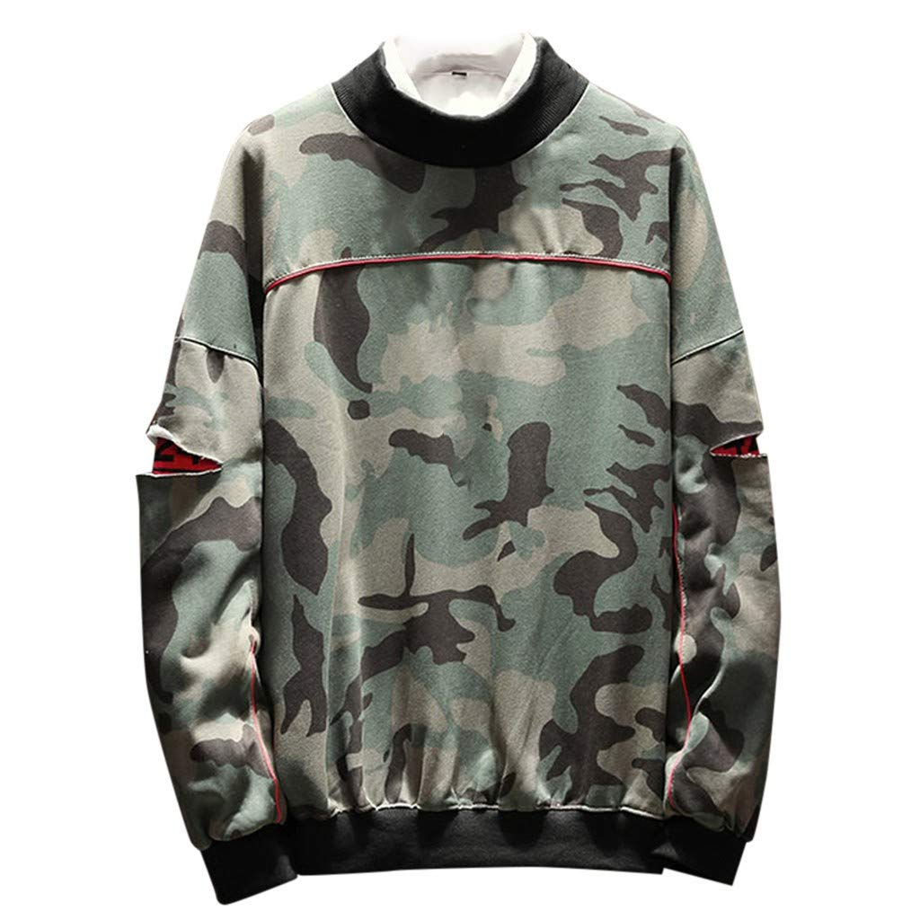 Fastbot Sweatshirts for Mens Casual Patchwork O-Neck Long Sleeves Sweatershirt Tops Camouflage by Fastbot