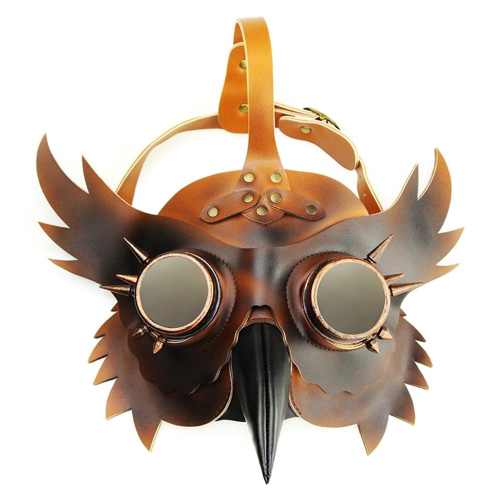 CYCG Pest-Maske Doktor Arzt Kopfmaske,Steampunk Pest Schnabel Maske, für Erwachsene Halloween Party,Bar Cosplay Prop Geschenke Cosplay Unisex,PU Leder Braun