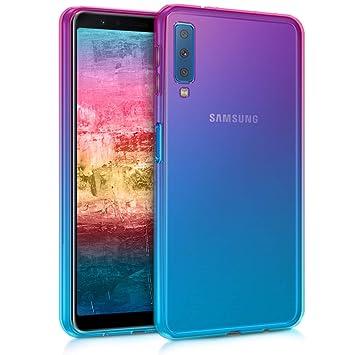 kwmobile Funda para Samsung Galaxy A7 (2018) - Carcasa para móvil de [TPU] con diseño Bicolor - [Rosa Fucsia/Azul/Transparente]