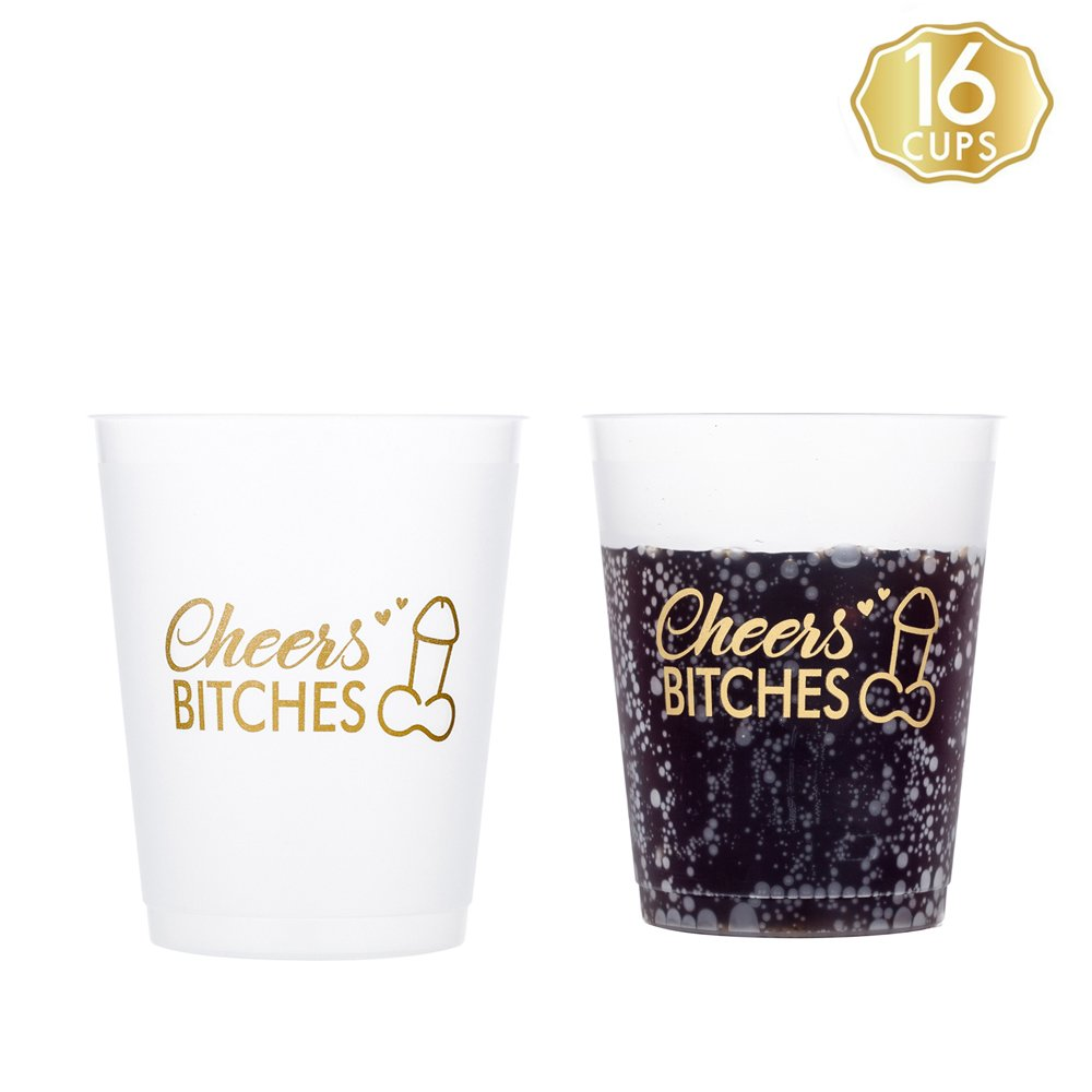M MISS FANTASY Bachelorette Party Cups Hen Party Supplies 16 Count Frosted White Cups Stadium Cups (16)
