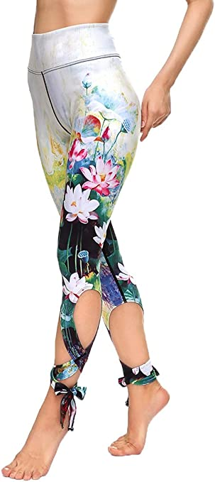 COCOLEGGINGS Women's Digital Print High Waisted Workout Capri Leggings