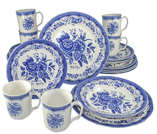 Tudor Royal Collection 24-Piece Premium Quality Porcelain Dinnerware Set, Service for 6 - Victoria BLUE;See 10 DESIGNS Inside!