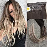 Full Shine 8 Pcs 22 inch Seamless Balayage Extensions Color #2 Fading to #8 and #613 Blonde Highlighted Seamless Hair Clip in Extensions Remy Human Hair