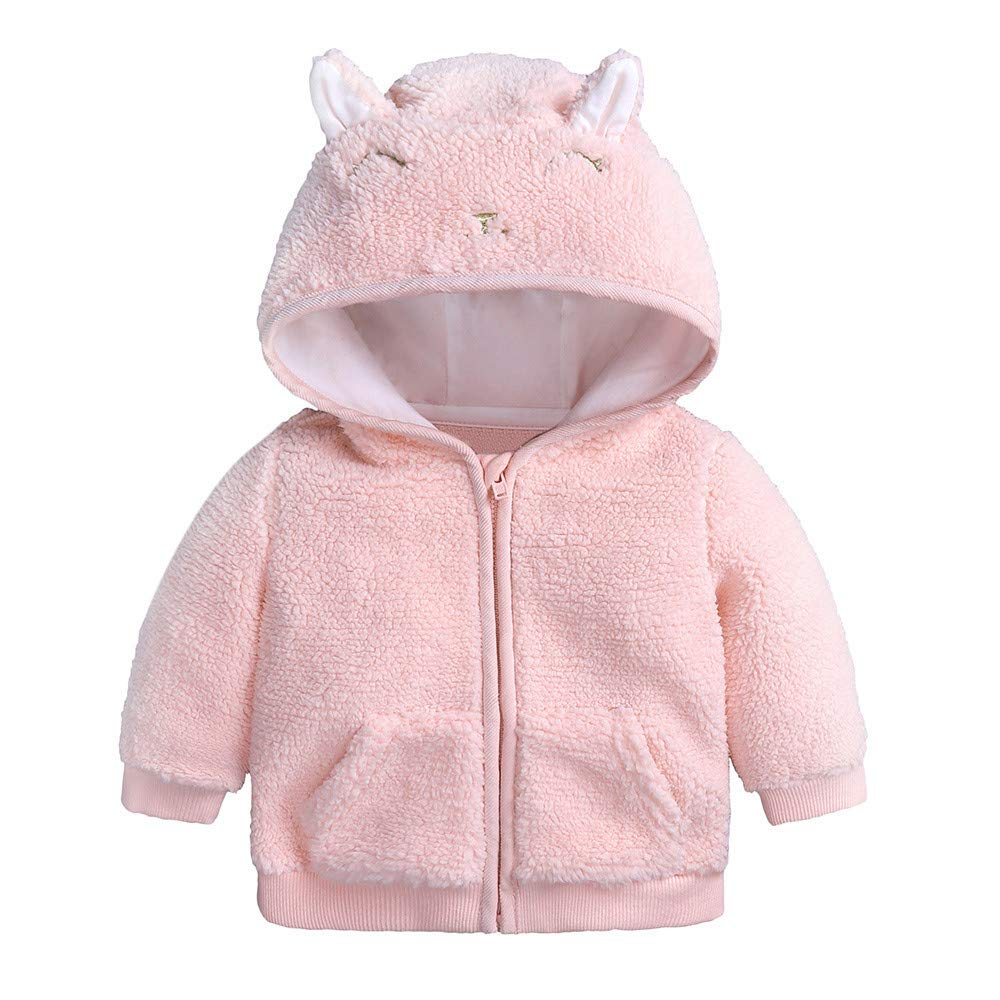 H+K+L Cute Newborn Infant Cartoon Ear Hooded Pullover Tops Warm Baby Boys Girl Clothes Coat (3, Pink)