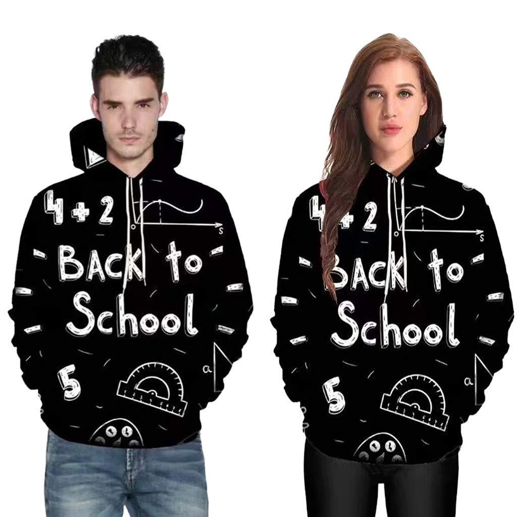 Yvelands Capuche Unisexe 3D Impression Abstraite Soldes Noir Sweatshirt à Manches Longues Top Poches Vêtements d\'extérieur Veste