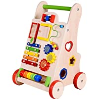 Happy GiftMart Push Along Wooden Walker for Baby with Multiple Learning Activity Multi Color