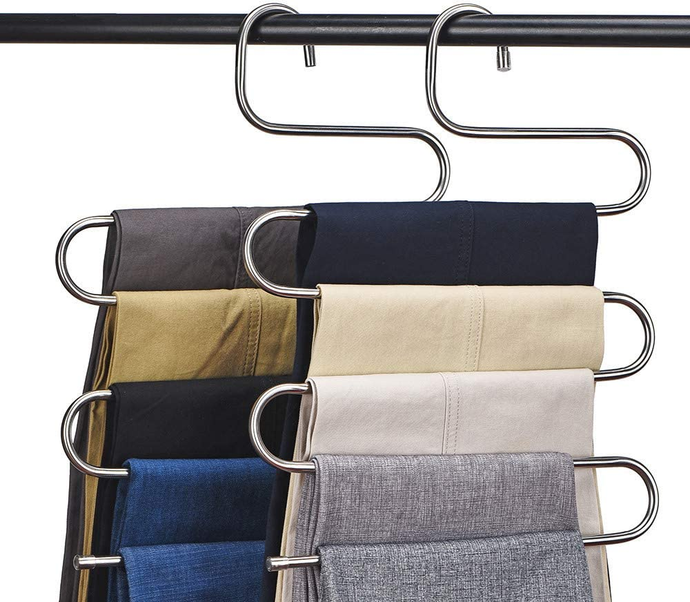 Nature Smile 4 Pack 5 in 1 Anti Slip Metal Sweater Coat Hangers,Multi Layers Wardrobe Clothes Rack,Heavy Duty Metal Space Saver Blouse Hanger Closet Storage Organizer