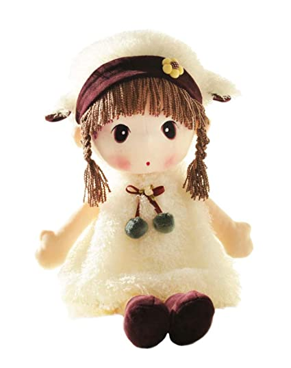 HWD Kawaii 17 inch Stuffed Plush Girl Toy Doll.Good Dolly Gift for Kids Baby