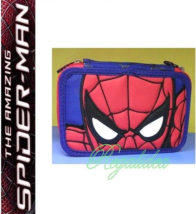 Estuche Escolar Spiderman Hombre Araña completo 3 pisos Pieno 2017 y 2018 + incluye lápiz purpurina: Amazon.es: Oficina y papelería
