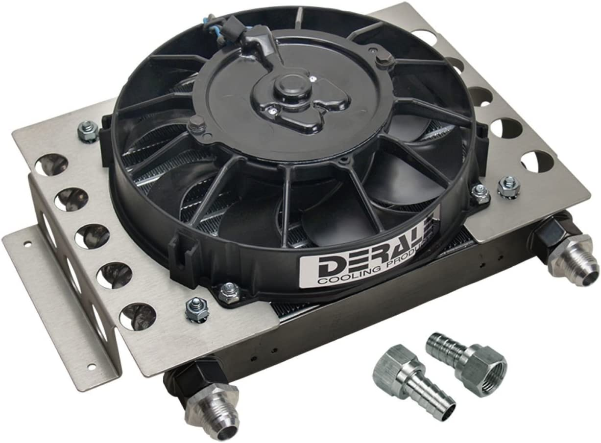 Derale 15850: Oil Cooler, Engine or Transmission, with Electric Fan, 30,000 GVW, 10 in. x 12 1/2 in. x 4 in, -8 AN Male,Kit