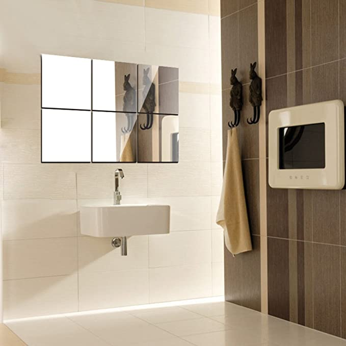 Mirror Wall Tile Stickers Roll Bathroom DIY Home Decor Self Adhesive Reflective