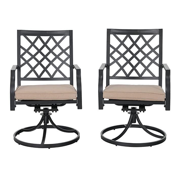 PHI VILLA Outdoor Patio Swivel Rocker Dining Chairs Set of 2 for Garden Backyard Furniture 2 Pcs Sets with Cushion - Black