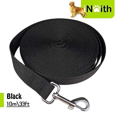 iNeith - Correa de entrenamiento para perro, larga correa para camping, seguimiento, obediencia, juego, 10 m, nailon negro