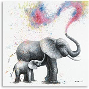 B BLINGBLING Elephant Decor Canvas Wall Art Picture, Rainbow Mama and Baby Elephant Painting Print on Canvas for Kids Girls Room Nursery Bathroom Framed and Ready to Hang 12