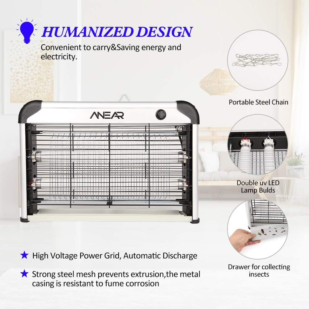 2 Pack Electric Bug Zapper,ANEAR Insect Killer with 20W UV Lamp Mosquito Zapper Trap Patio Mosquito,Fly,Moth,Wasp,Beetle /& Other Pests Killer for Backyard