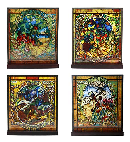 Ebros Louis Comfort Tiffany Four Seasons Collection Set Stained Glass Art with Base Decor for Home and Office Decorative Cathedral Mosaic Style Glass Featuring Spring Summer Fall Winter Seasonal - Base Four Panel