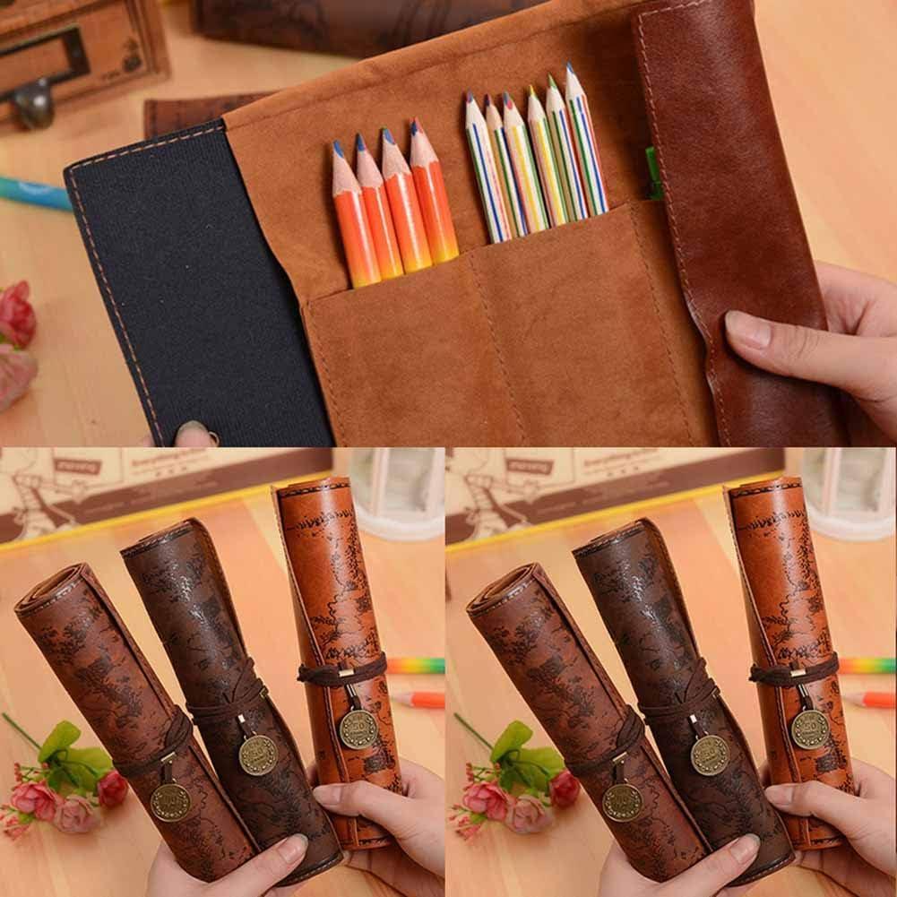 Outflower 1PCS mappa di matita Portable Bundled portapenne grande capacit/à cancelleria Astuccio in pelle PU colore casuale 20.5/x 31/cm