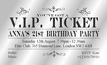 30 personalised surprise party invitations blue surprise ticket