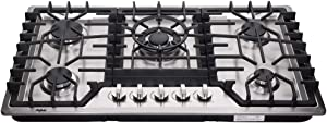 Hotfield Gas Cooktop HF825-SA06 34 inch Gas Cooktop LP/LPG Sealed 5 Burners Stainless Steel Drop-In gas hob gas cooker