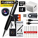 MINICUTE Hidden Camera Spy Pen 1080P- Bundle 32GB MICRO Card + 6 INK FILLS +Updated battery+SD card Adapter+Card reader-Real 2560 x 1920HD Video+Voice&Image Recorder.