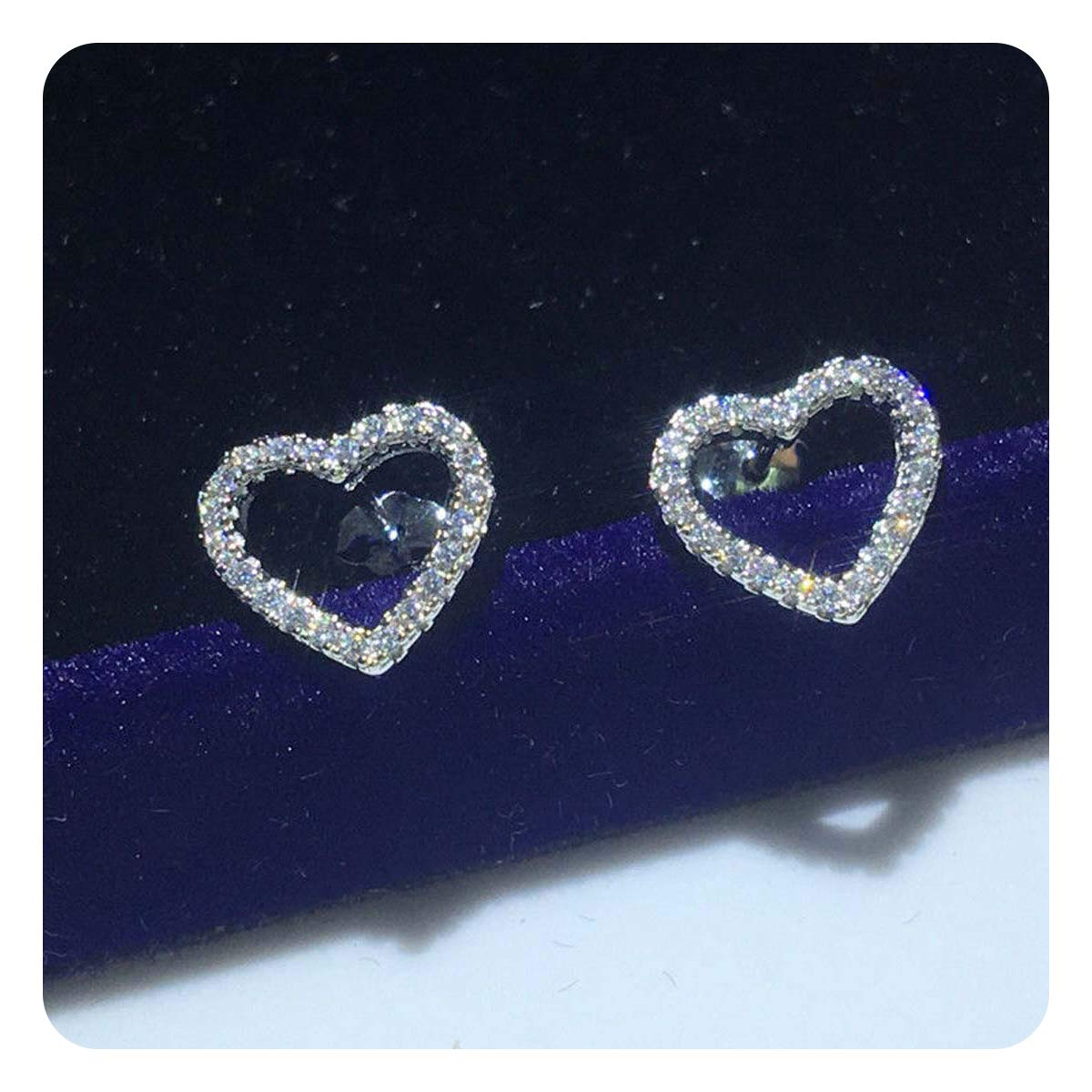 0.40Ct Round VVS1 Diamond Heart Stud Earrings Solid .925 Sterling Silver For Womens