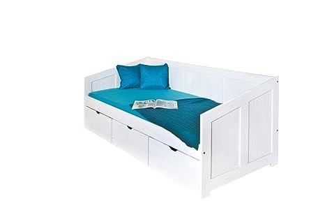 Inter Link Links 20900190 Bett 90x200 cm Kinderbett Funktionsbett  Stauraumbett massiv Schubladen, weiß