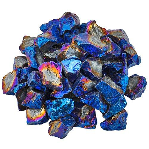Nautral Rock Quartz Rough Raw Loose Beads, Edge Titanium Coated Irregular Loose Beads for Jewelry Making, 1LB, Deep Blue Aura ()