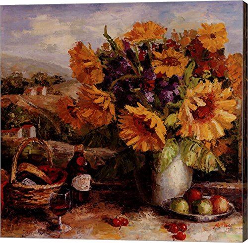 Sunflowers With Fruit And Wine II by R. Hong Canvas Art Wall Picture, Gallery Wrapped with Image Around Edge, 17 x 17 inches
