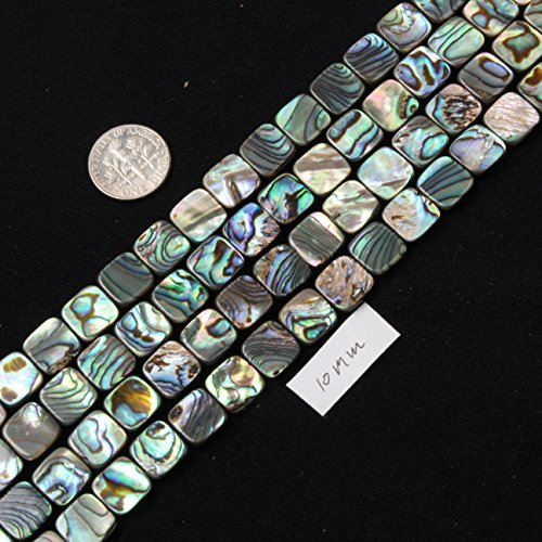 [SHG Store 10mm Square Natural Abalone Shell Beads Strand 15
