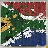 Custom Shower Curtain With Hooks Abstract South Africa Flag Polyester Bathroom Decor