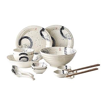 QPGGP-Plato de comida Juego de Cubiertos de cerámica Creativa Japonesa de Cuenco de arroz, Plato, Plato, Cuchara sopera del hogar de Placa Plana: Amazon.es: ...