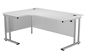 Office Hippo Professional Left Corner Office Desk, Wood, White, Silver  Frame, 160