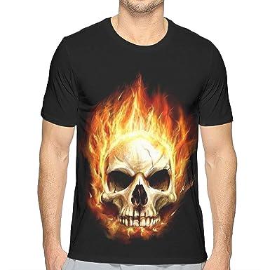 06250a7dfb066c Amazon.com  POOPEDD Fire Flame Skull Mens T-Shirt