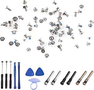 D-FLIFE Complete Full Screw Set Compatible for iPhone XR (Silvery/Black/Gold) with 1 Set Repair Tool Kits