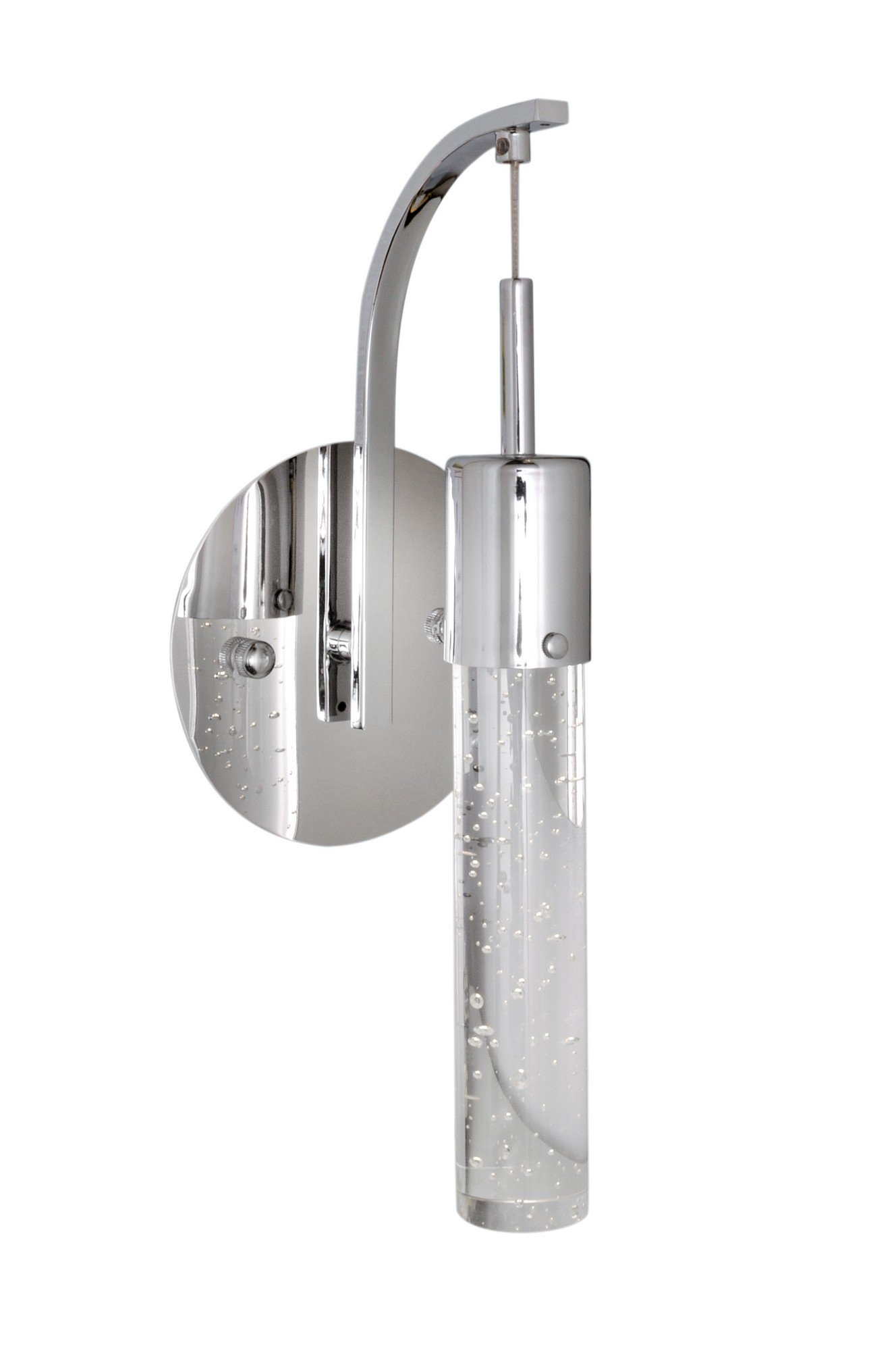 ET2 E22770-91PC Fizz IV 1-Light LED Wall Sconce, Polished Chrome Finish, Bubble Glass, PCB LED Bulb, 20W Max., Dry Safety Rated, 2900K Color Temp., Standard Dimmable, Stainless Steel Shade Material, 3500 Rated Lumens