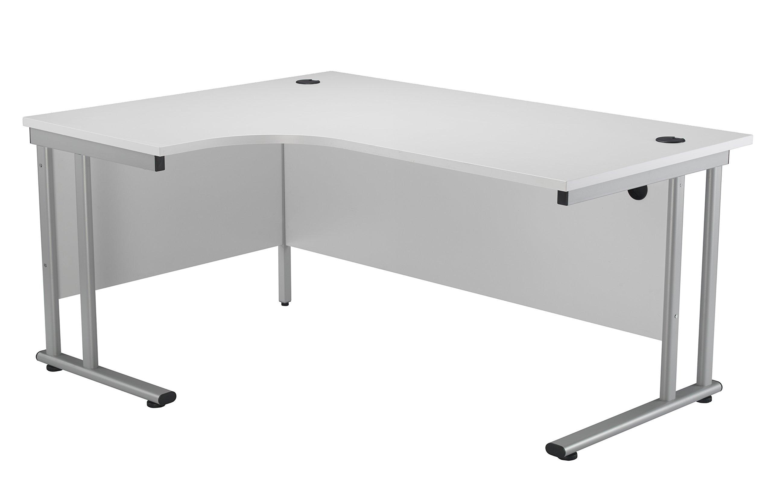 curved office desks. Office Hippo Professional Left Corner Desk, Wood, White, Silver Frame, 160 Curved Desks