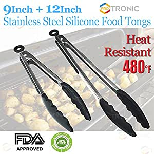 Pro Tronic 9 inch and 12 inch Stainless Steel Silicone Food Tong Kitchen BBQ Salad Cooking Clip (Black)