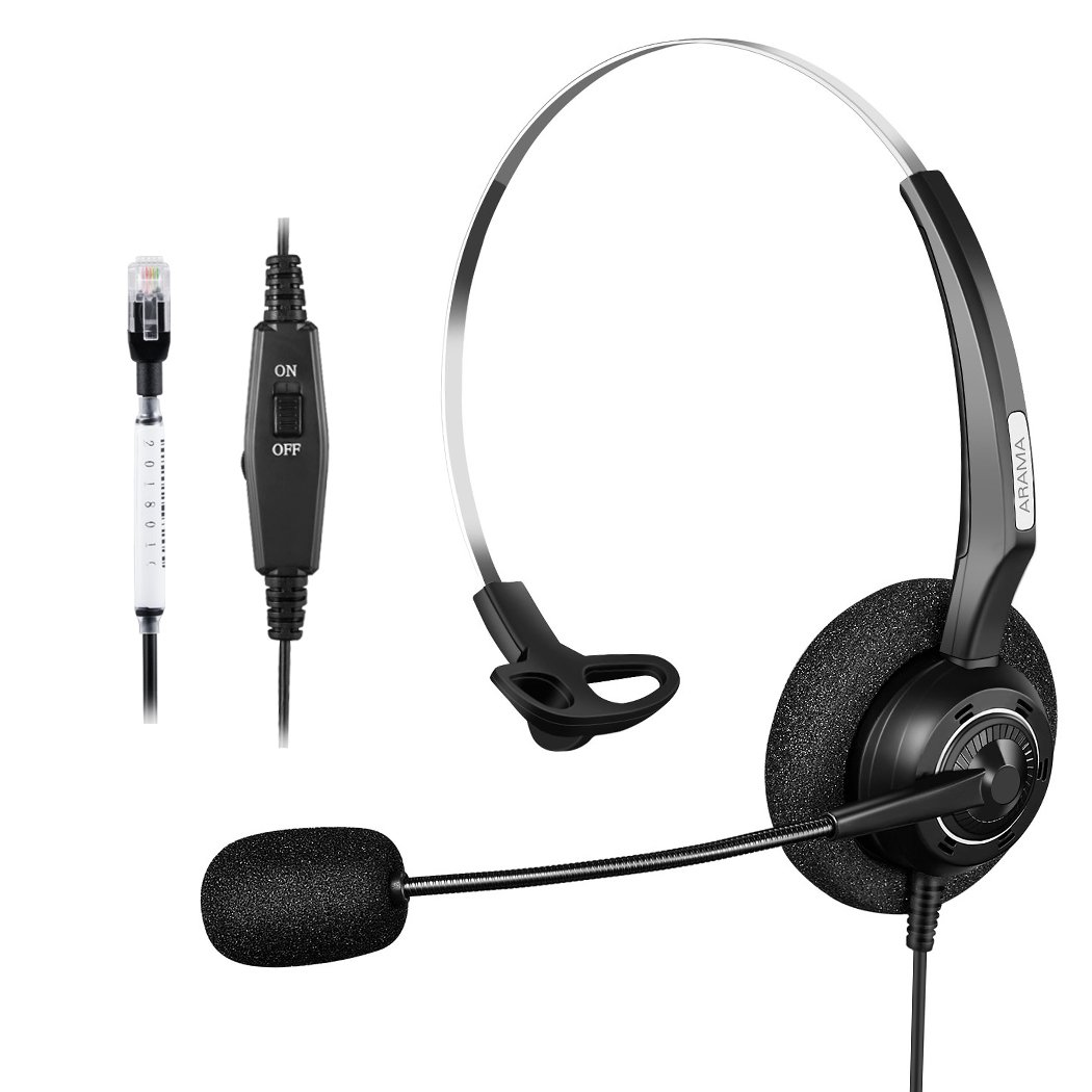 Arama Corded Headset with Microphone & Volume Mute Control, Call Center Telephone RJ Mono Headset with Noise Cancelling for Avaya 1608 1616 Panasonic KX-T Yealink T20P Cisco 7902 Snom 300-A200Y