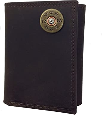 Shotgun Shell Leather Crazy Horse Brown Trifold Wallet