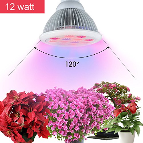 OldShark? 12W LED Plant Growing Lights E27 Growing Bulbs for Garden Greenhouse and Hydroponic Indoor Aquatic Plants Light Full Spectrum Growing Lamps in 3 Bands