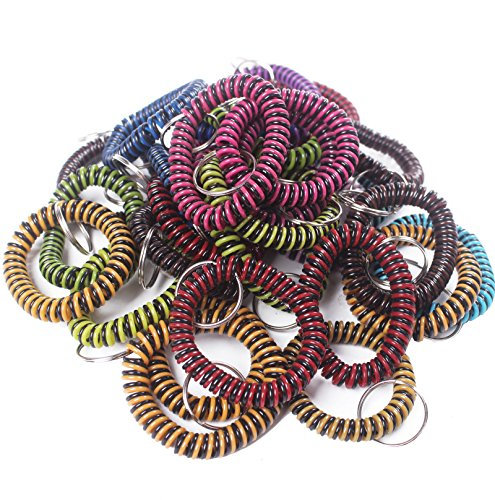 BIHRTC Pack of 30 Stripe Style Flexible Spiral Coil Stretchable Spring Wristband with Key Ring for Office, Workshop, Shopping Mall, Sauna and Outdoor Activities Place (Style 1,Color - Springs Mall Co