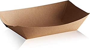 Disposable Paper Food Trays 2.5Lb-Heavy Duty, Grease Resistant 100 Pack. Durable, Ideal for Festival Holds Treats Like Hot Dogs, Fries, Nachos (NATURALECO)
