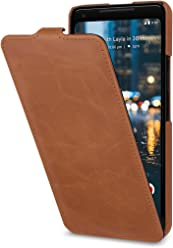 StilGut UltraSlim Case, custodia per Google Pixel 2 XL flip case custodia verticale in vera pelle pregiata, Cognac