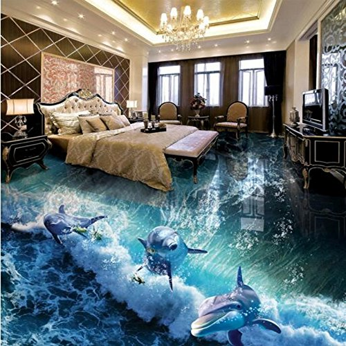 Sproud Large Custom Flooring Dolphin Waves Ocean 3D Bathroom Living Room Floor Thick Waterproof Anti-Skid 250cmX175cm