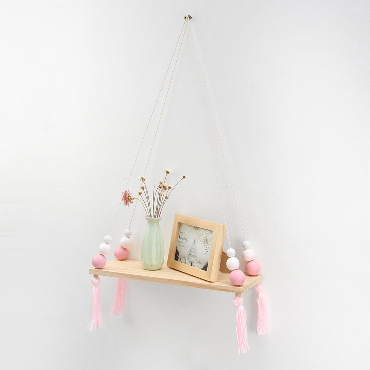 "KINGSO Macrame Display Wall Hanging Shelf Swing Rope Macarons Floating Shelves Home Decor,Distressed Wood Hanging Swing Rope Floating Shelves Wood Suspended Hanging Shelf 20"""